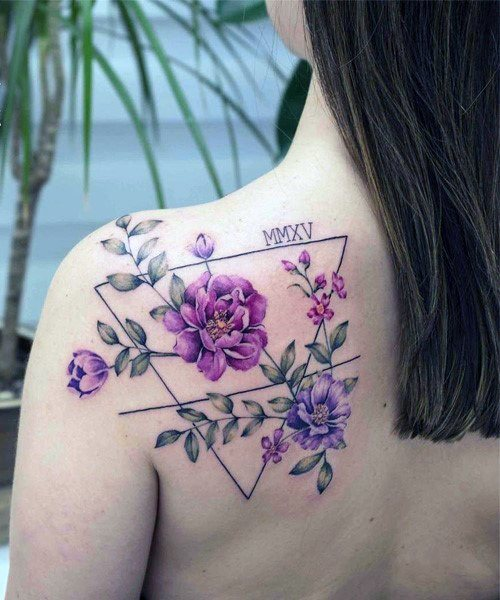 Geometric Lines And Amethsyt Floral Tattoo Womens Back Art