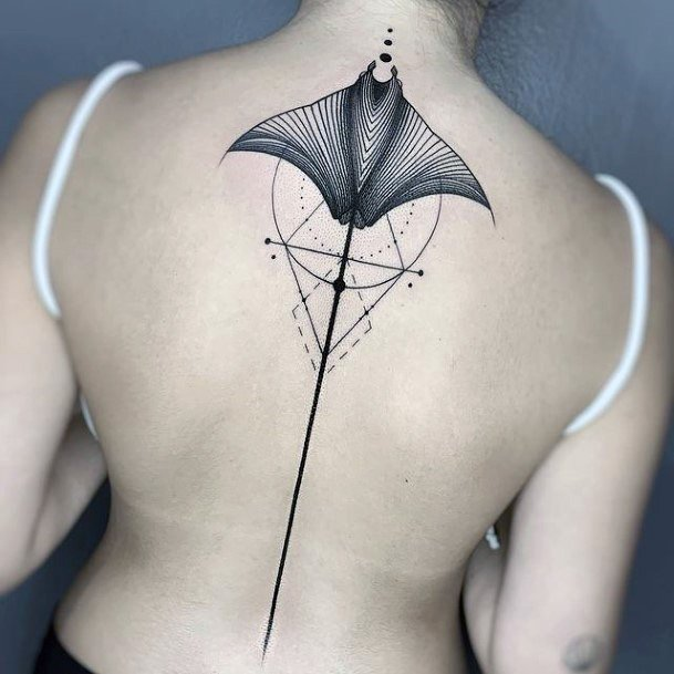 Geometric Lines And Huge Bat Wings Tattoo Womens Back
