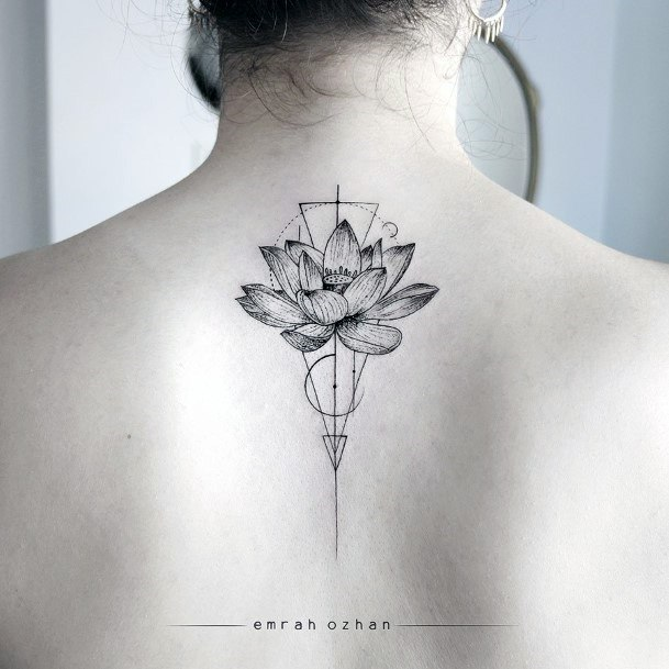 Geometric Lines And Lotus Bloom Tattoo Womens Back