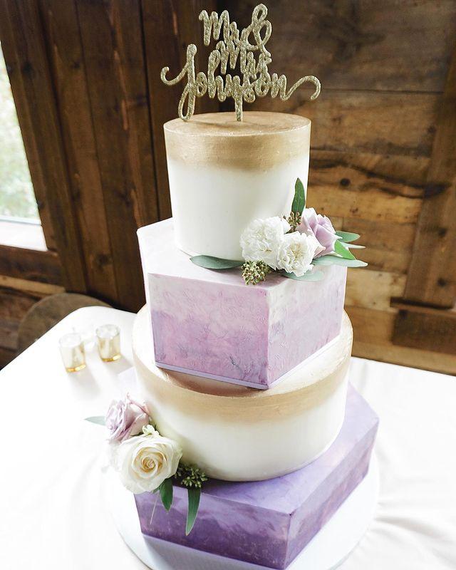 Geometrical And Circular Purple Wedding Cake