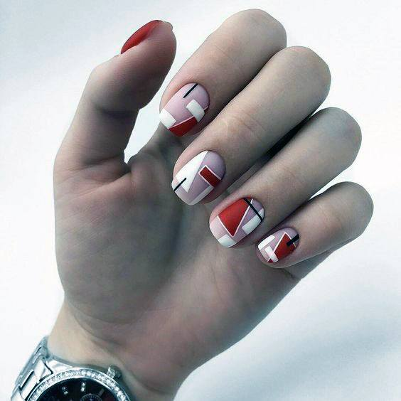 Geometrical Design On Bright Red Nails For Women