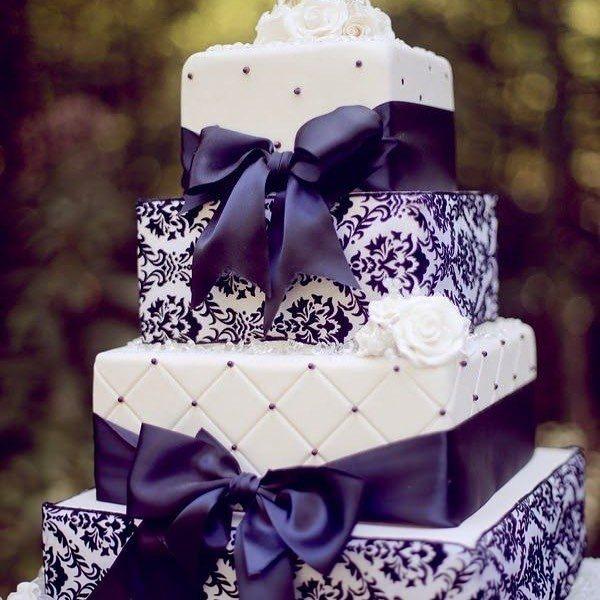 Gift Wrap Style Purple Wedding Cake