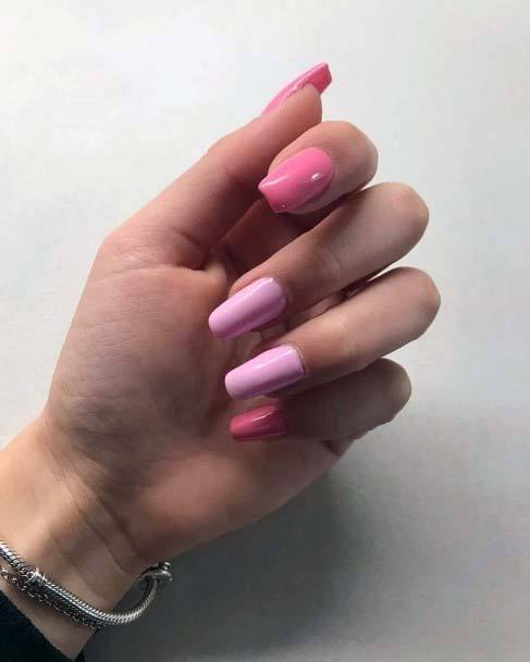 Girls Light Shaded Pink Collection Nail Art