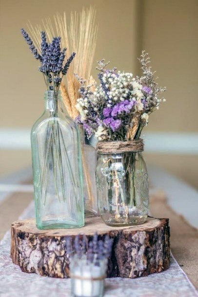Glass Bottle Lavender Flowers Wedding