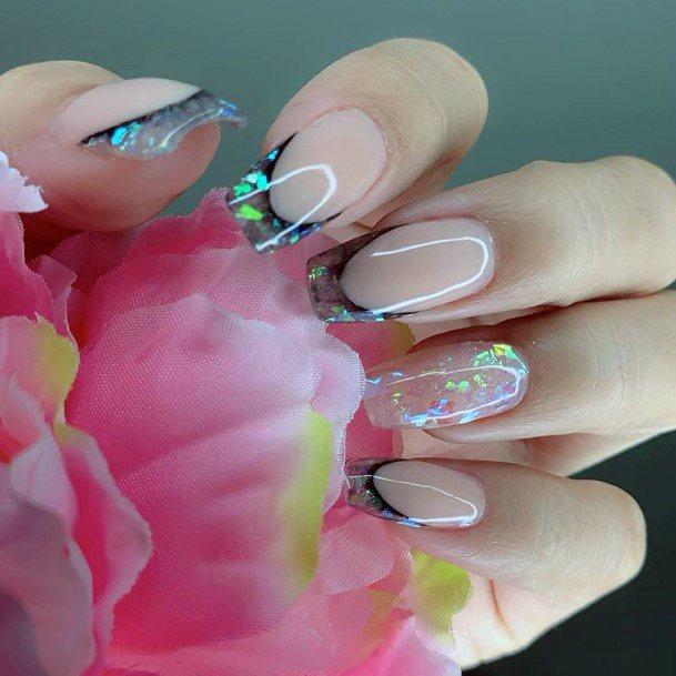 Glass Nail Art On Tips For Women