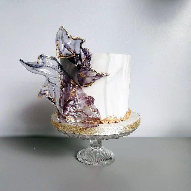 Glass Purple Flower Unique Wedding Cake