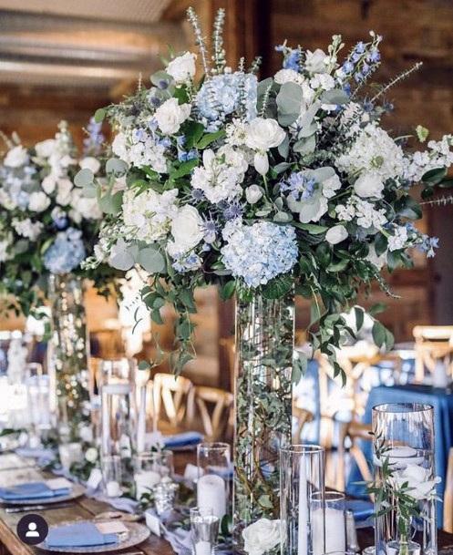 Glass Vased White Hydrangea Flowers Wedding