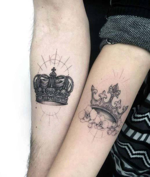 Gleaming Black Crown Tattoo Womens Hands