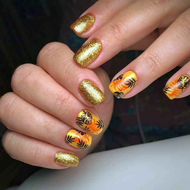 Gleaming Gold Tropical Nails Women
