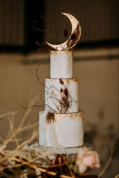 Gleaming New Moon Rustic Wedding Cake Toppers