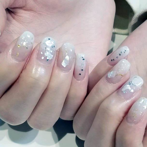 Gleaming White Ombre Nails Women