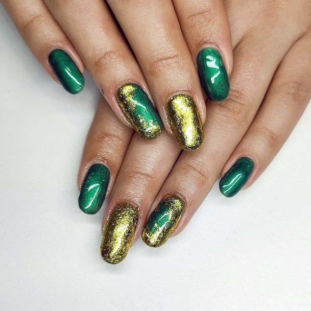 Glimmering Gold Foil On Green Nails Women