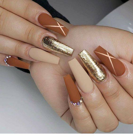 Glinting Golden Brown Long Nails Women