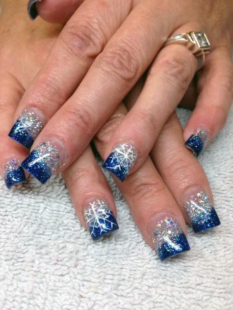 Glistening Blue White Snow Nails Women