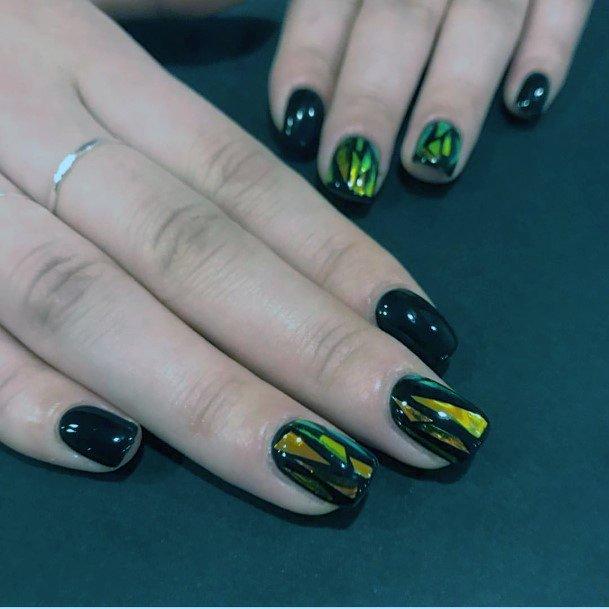 Glistening Gold On Black Nails Women