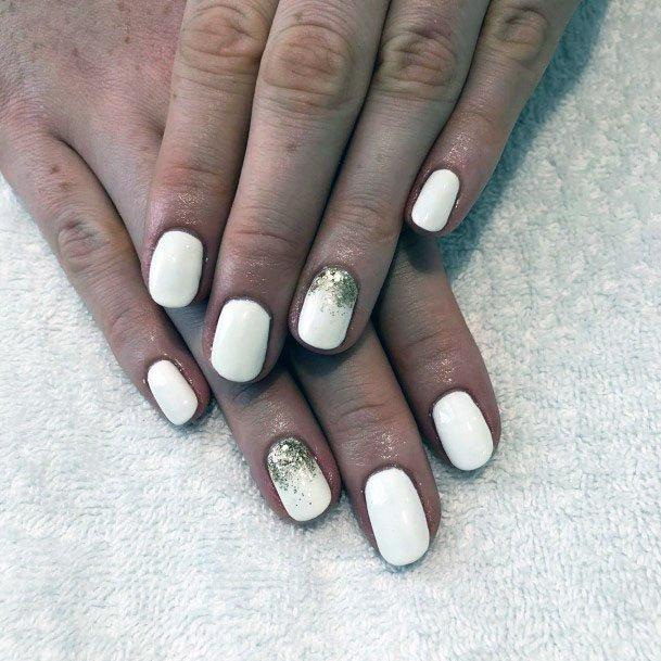 Glistening Golden Sparkles On White Gel Nails Women
