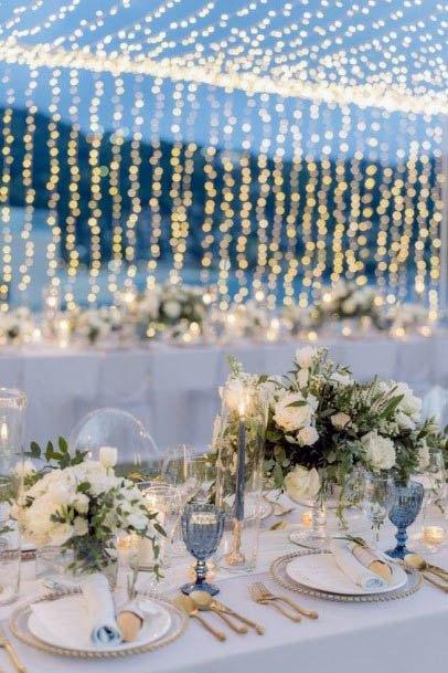 Glittering Beach Wedding Flowers And Light