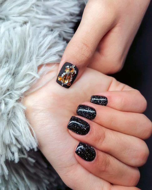 Glittering Black Nails And Royal Embellishment For Women