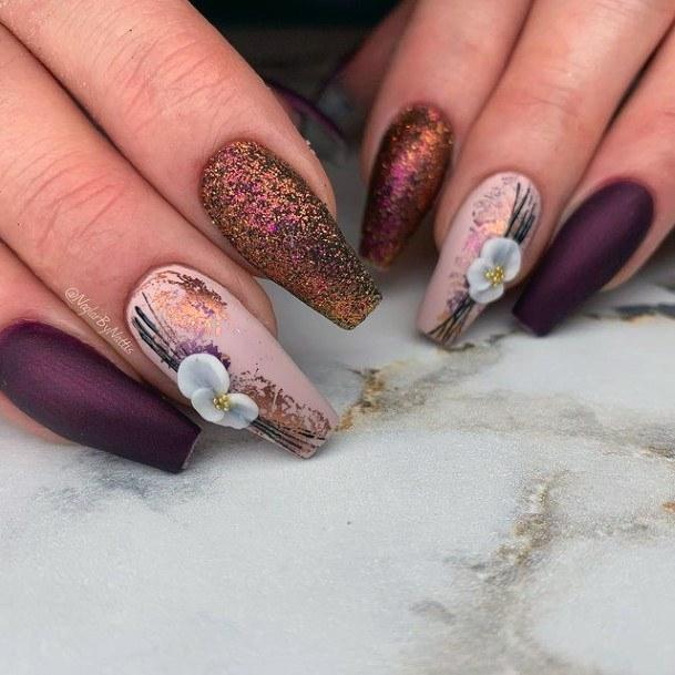 Glittering Dark Purple And Brown 3d Flower Nails Women