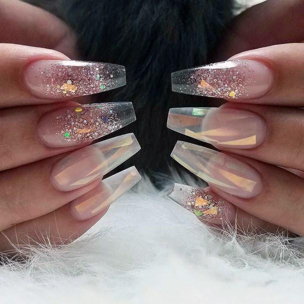 Glittering Glass Nails For Women