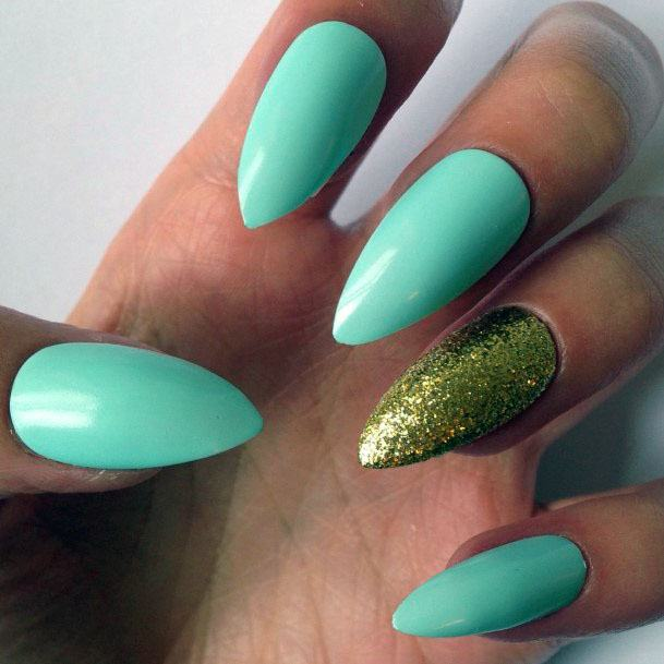 Glittering Gold And Mint Nails Women