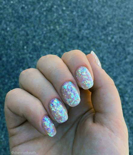 Glittering Iridescent Nails Women