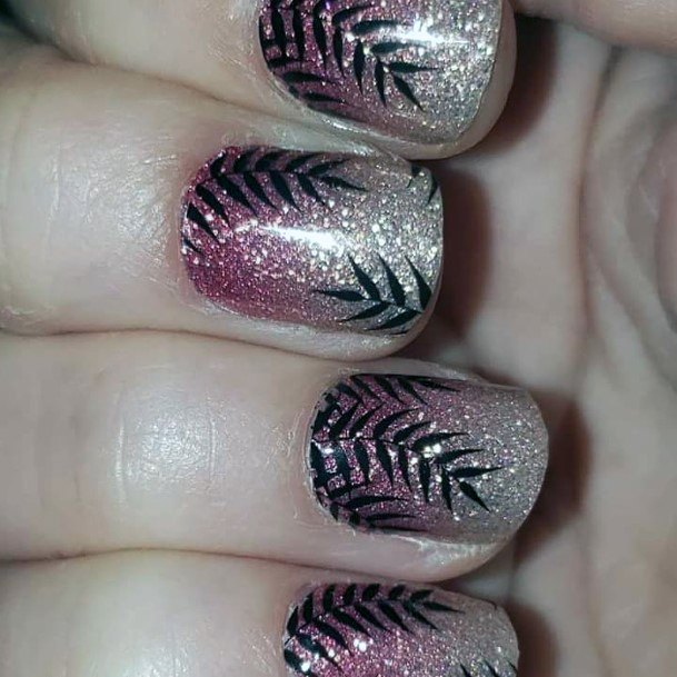 Glittering Nails With Black Leaves