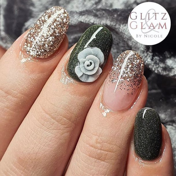 Glittering Silver And Green Nails Golden Sparkles Women