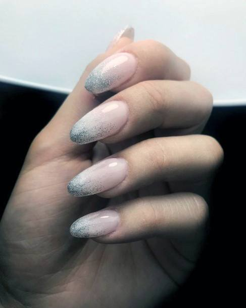 Glittering Tips Almond Shaped Charming Nails For Women