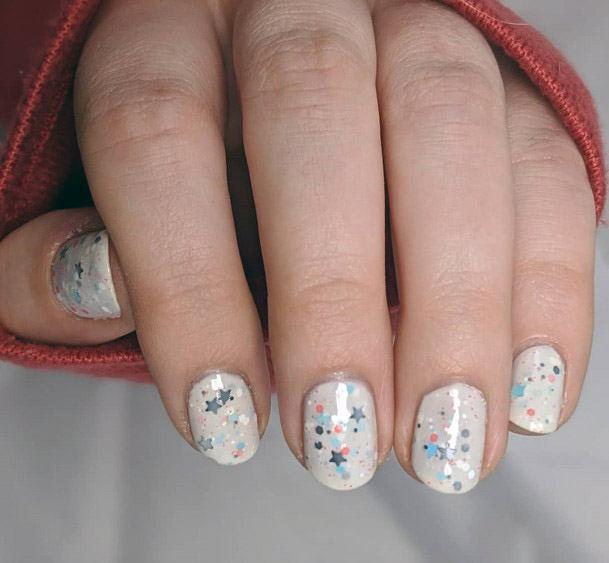 Glittering White Nails Women