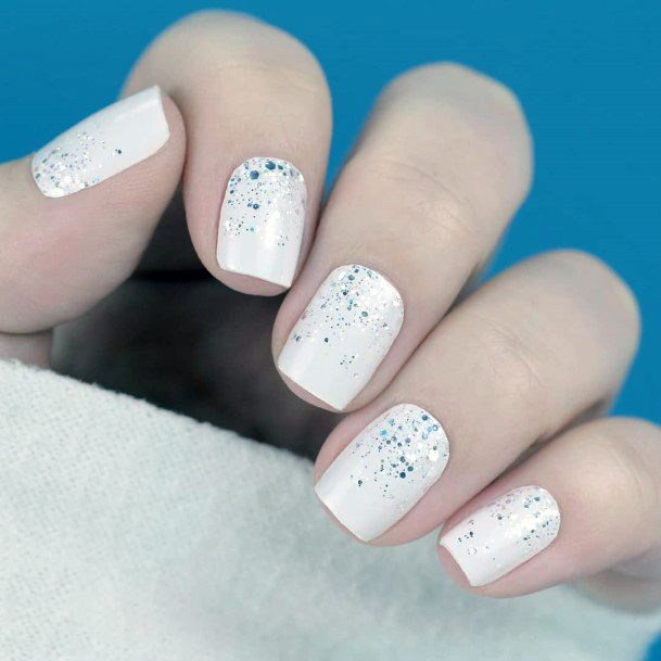 Glittering White Snow Nails Women