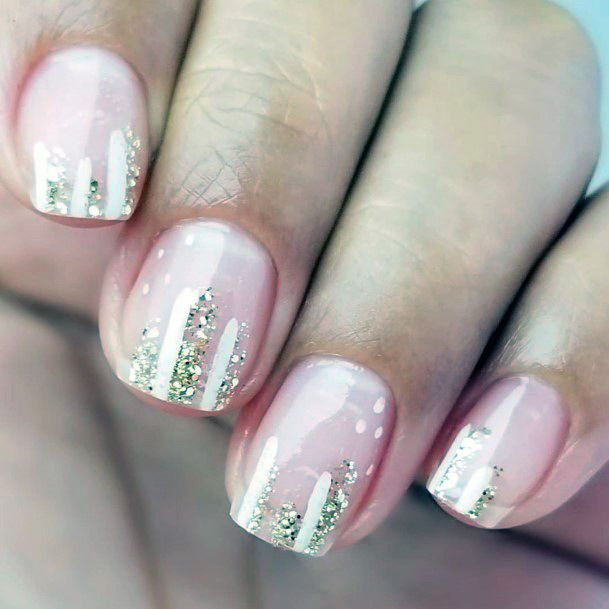 Glitters On Natural Nail Ideas For Women