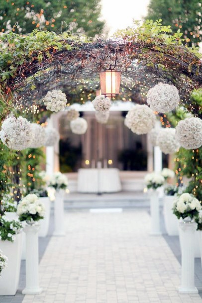 Globules Of White Hydrangea Flowers Arch Wedding