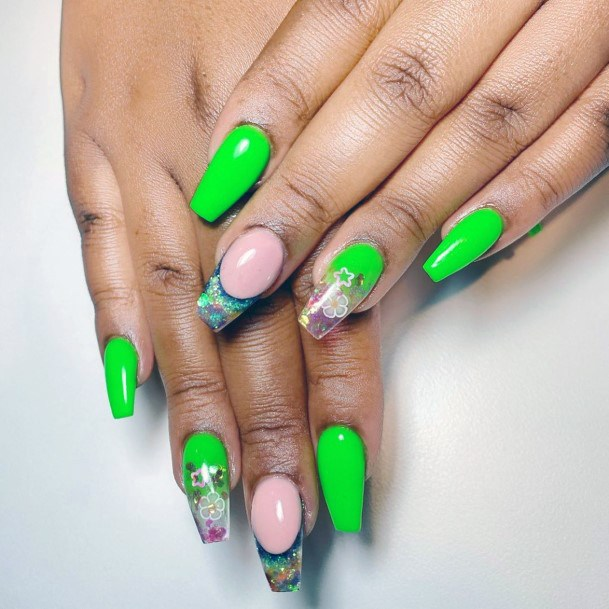 Gloral Glitters On Neon Green Nails