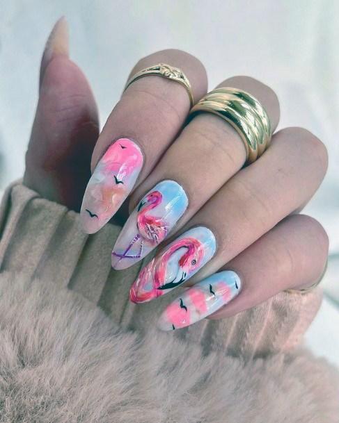 Glorious Flamingo Nails Women