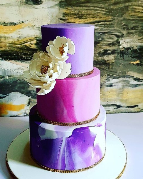 Glossed Marble Purple Wedding Cake