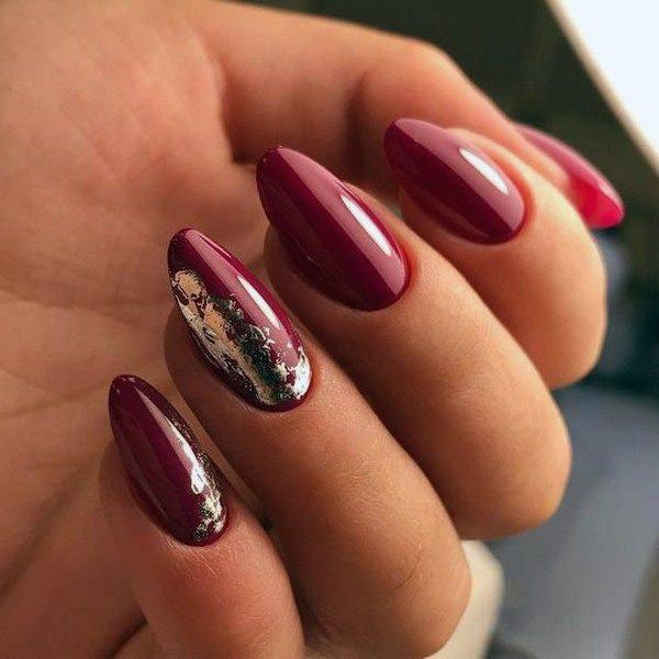 Glossy Almond Magenta Nails Women