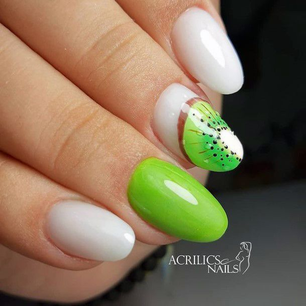 Glossy Almond Nails White And Kiwi Women