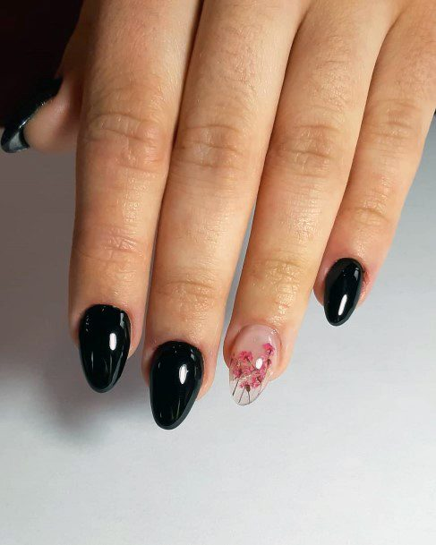 Glossy Black Nails With Pretty Pink Art Nail For Women