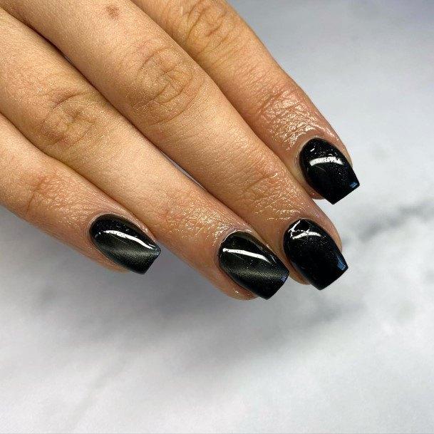 Glossy Black Square Nails Women