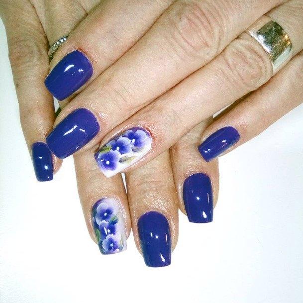 Glossy Blue Pretty Nails Women
