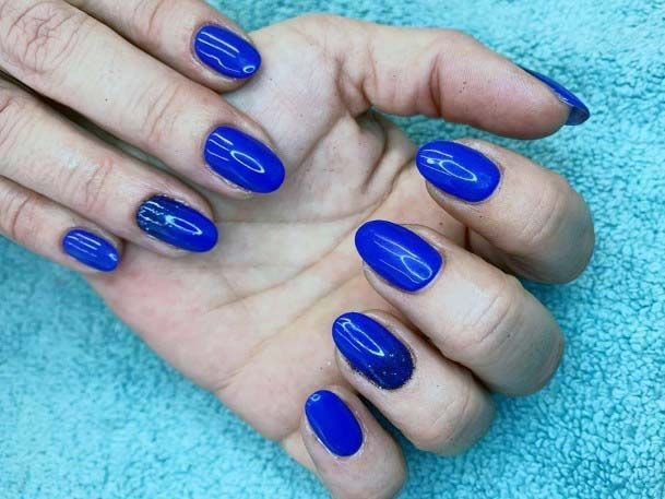 Glossy Bright Blue Nails For Women