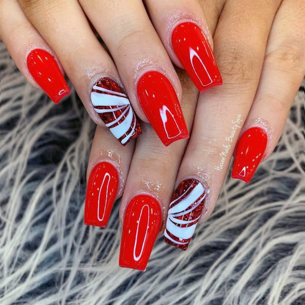 Glossy Bright Red Nails With Accent For Women