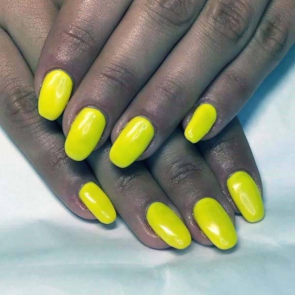 Glossy Bright Yellow Nails For Women