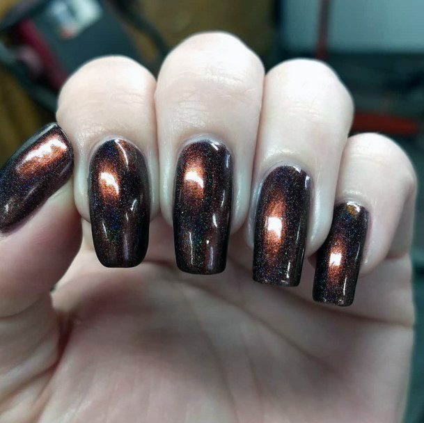 Glossy Brown Smooth Nails Women