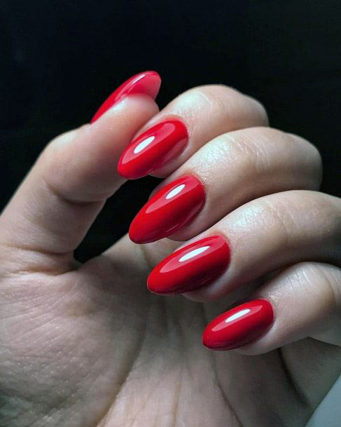 Glossy Cherry Red Nails Women