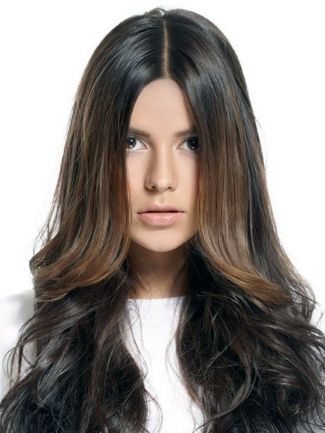 Glossy Chocolate Brown Wavy Center Part Hairstyle Women