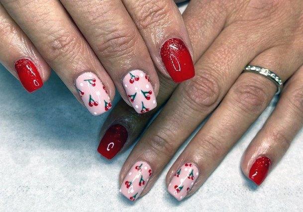 Glossy Cute Cherries On Nails Women