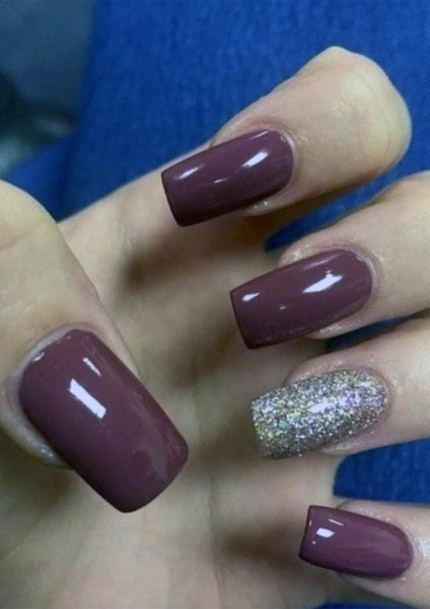 Glossy Dark Purple Nails Women