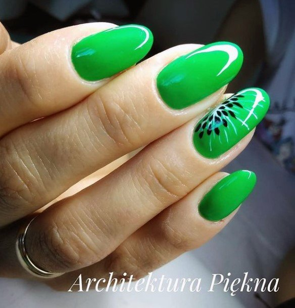 Glossy Green Kiwi Nails Women